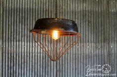 Repurposed Chicken Feeder Hanging Light ~ via Knick of Time @ http://knickoftimeinteriors.blogspot.com/