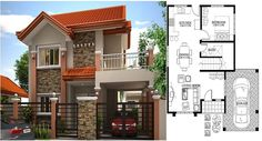 Two Storey, Modern House Design 169 sq. with House Plan Flat House Design, Two Story House Design, 2 Storey House Design, Simple House Design, Bungalow House Design, House Front Design, Modern House Design, House Plans Mansion, Duplex House Plans
