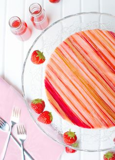 Strawberry Mousse Cake with Candied Rhubarb - The Tough Cookie List Of Desserts, Desserts To Make, Dessert Recipes, Strawberry Mousse Cake, Strawberry Recipes, Cake Frosting Recipe, Frosting Recipes, Rhubarb Cake, Tiramisu Recipe