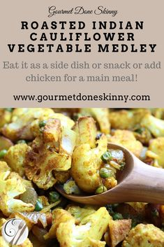 Roasted Indian Cauliflower Vegetable Medley is one of my rotating vegetable dishes I make every week to have on hand for snacking. Its very versatile! How One Woman Discovered the Female Fat-Loss Code Missed by Modern Medicine And Los Cauliflower Vegetable, Vegan Dinner Recipes, Vegan Dinners, Vegan Recipes Easy, Delicious Recipes, Vegetable Medley, Vegetable Sides, Aloo Gobi