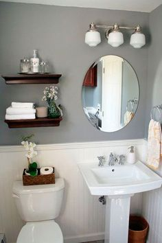 Here are the Small Bathroom Decor Ideas On A Budget. This post about Small Bathroom Decor Ideas On A Budget … Small Bathroom Shelves, Half Bathroom Decor, Bathroom Interior, Modern Bathroom, Bathroom Ideas, Bathroom Mirrors, Bathroom Makeovers, Bathroom Cabinets, Bathroom Storage