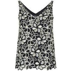 BOUTIQUE MOSCHINO Floral Lace Vest Top (20.780 HUF) ❤ liked on Polyvore featuring tops, v-neck vest, floral tops, floral print tops, boutique moschino and lace vest top