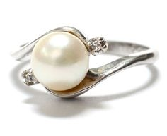 Cultured Pearl, Diamond & 10K White Gold Ring -  Size 7