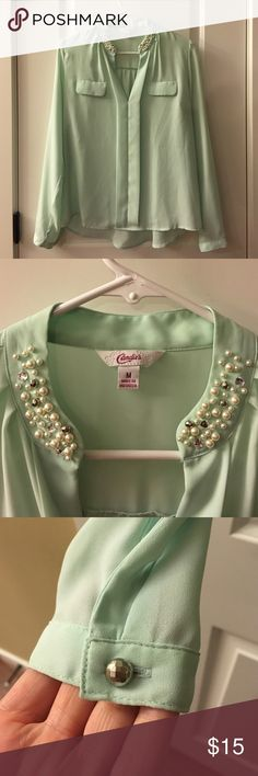Mint blouse Candies, mint blouse with pearl and rhinestone detail on collar. Candie's Tops Blouses