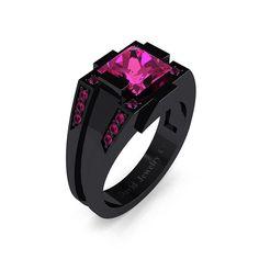 Mens Modern 14k Black Gold 2.0 Carat Princess Pink Sapphire Wedding Ring R1020M-14KBGPS