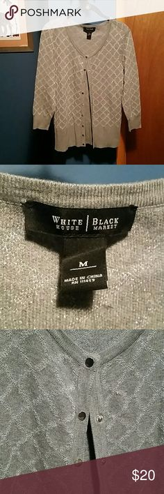 White House Black Market silver sweater In brand new condition.  Rayon and nylon blend. Beautiful sweater. White House Black Market Sweaters Cardigans
