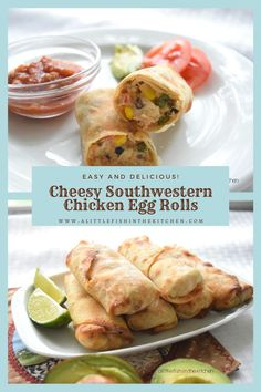 This is a fun fusion recipe for a quick weeknight meal! These cheesy southwestern chicken egg rolls are packed with flavor and they'll fill a hungry family up in a hurry. We like to serve these as main dish with tortilla chips and guacamole on the side! #eggrolls #airfryerrecipes #howtomakeeggrolls #fusionrecipes #southwesterneggrolls #weeknightmeals #appetizers #appetizerideas #recipes #easyrecipes #eggrollrecipes