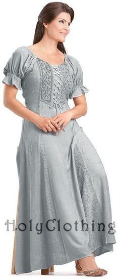 c84e16c518 Haley Puff Sleeve Lace-Up Renaissance Peasant Corset Dress - Dresses Pear  Shaped Outfits