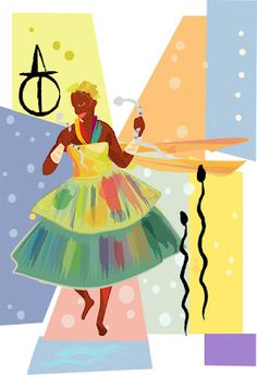 Oxumare by Dani Scartezini Wicca, Holy Mary, Orisha, Greek Gods, Sacred Art, West Africa, Color Mixing, Mythology, Disney Characters