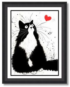 'Sweetheart' - Kim Haskins Art - 1 - This is an original artwork created in 2013 featuring a romantic black and white cat. It is signed and titled by KIM (not shown in image).