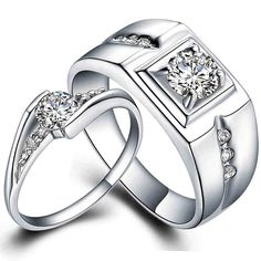 Find More Rings Information about Pair 925 sterling silver wedding ring set White Gold fill his and hers promise ring set engagement matching love ring for couple,High Quality ring symbol,China ring forging Suppliers, Cheap ring lord jump rings from Blue-Ocean Fashion Jewelry on Aliexpress.com