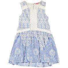 Buy Derhy Kids Girls' Tile Print Dress, Cream/Blue Online at johnlewis.com