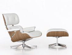 One of, if not the, most iconic designs of the Century, the Eames Lounge Chair & Ottoman range personifies mid-century cool. Shop Charles and Ray Eames' iconic Eames Lounge range of Armchairs and Footstools. Contemporary and designer furniture. White Eames Chair, White Ottoman, Eames Chairs, Chair And Ottoman, Dining Chairs, Room Chairs, Vitra Chair, Desk Chairs, Bag Chairs