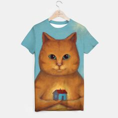 Every Cat Need A Home T-shirt, Live Heroes @liveheroes Ideas Moda Tshirt Sale. A house is not a home without a cat. illustration for Home Decor  A unisex cut full print custom t-shirt made of best quality materials. An excellent gift and a perfect outfit. A t-shirt like no other is within the reach of your fingertips, all you need to do is grab it! All products here: https://liveheroes.com/en/brand/oksana-fineart #Paint #Abstract #Watercolor #Acrilic #Digital #liveheroes…