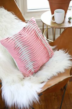 Textured leather pillow