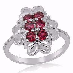 Rhodolite Garnet White Topaz Sterling Silver Designer Ring Valentine Gift Jewels #Unbranded #Cluster #ValentinesDay