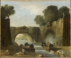 Hubert Robert, Landscape with Bridge