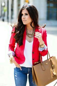 Nice blazer, white shirt, and brightly colored blazer combo