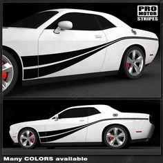 Choose Color Dodge Challenger 2008-2019 Rocker Panel Strobe Stripes Decals