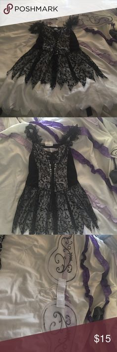 """Dark Angel Halloween Costume Black lace with white sheet underlining. Also comes with strap on wings. Says """"tween Xl"""" but fits as a kids M or adult XS. Does not have to be purchased together. Can do items separate just comment (: Dresses Midi"""
