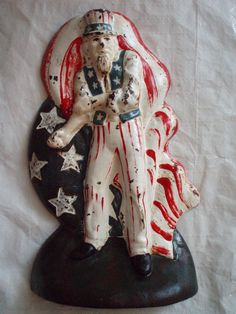 Americana Uncle Sam / Antique cast iron door stop. 4th Of July Celebration, Fourth Of July, Wings Etc, Let Freedom Ring, Door Stopper, Door Accessories, Vintage Iron, Patriotic Decorations, Iron Doors