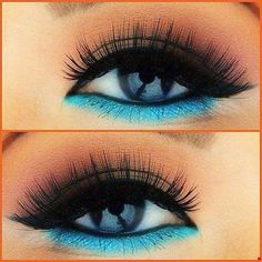 MAKEUP•❣• Maybe tone it down a bit, but the dark on top + bright color on the bottom is a cool idea