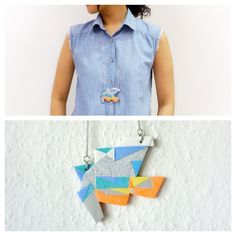 Large Polymer Clay Necklace Meet Market, Polymer Clay Necklace, Daydream, Mosaic, Vest, Marketing, Denim, Jackets, Fashion