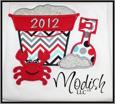 Sand Pail Crab Bucket Personalized Appliqued by SoModish on Etsy.
