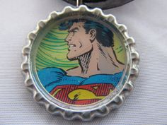 Superman bottle cap necklace with cord. $4.99, via Etsy.