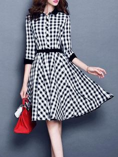 6529adfe111 Turn Down Collar Belt Plaid Skater Dress. mobeawesome · Beautiful dresses