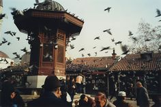 The Sebilj - wooden and stone fountain in Sarajevo, also known as ''The pigeon square''.