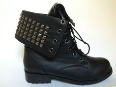 BOTTES CLOUTEES CLOUS LACET LACEES RANGERS ROCK BOOTS BOTTINES CLOUTEES NEUF