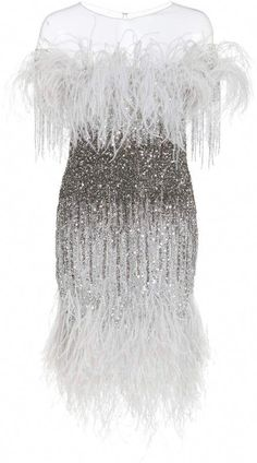 This **Pamella Roland** Sequin Embroidered Cocktail Dress features a round neckline, fitted bodice, and ostrich feather trim. Gala Dresses, Party Dresses For Women, Evening Dresses, Plus Size Cocktail Dresses, White Cocktail Dress, Little Dresses, Nice Dresses, Beautiful Dresses, White Sequin Dress