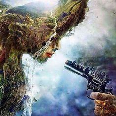 Gesucht wird der Mensch alias homo sapiens wegen Unterdrückung, Kriegführung und Zerstörung des Planeten Erde. Vorsicht! Macht bei geringstem Anlaß von der Waffe Gebrauch! - Graffito -  Bild:  My Mind https://www.mymind.gr/%CE%B5%CE%B9%CE%BA%CF%8C%CE%BD%CE%B5%CF%82-%CE%BC%CE%B5-%CE%BD%CF%8C%CE%B7%CE%BC%CE%B1-%CF%80%CE%BF%CF%85-%CE%B1%CE%BE%CE%AF%CE%B6%CE%B5%CE%B9-%CE%BD%CE%B1-%CE%B4%CE%B5%CE%AF%CF%84%CE%B5/