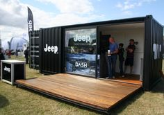 This shipping container appeared at the JEEP carfest stand this year. The hydraulic opening front deck allows them to open up for business within seconds and leaving it totally secure when it's closed.