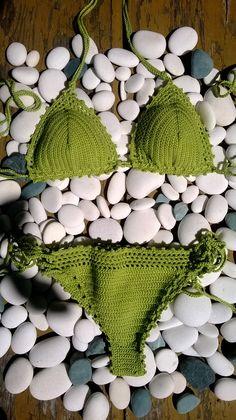 30% OFF SEPTEMBER SALE - Green grass crochet bikini - Boho Bikini, Crochet Vintage Bikini, Crochet Bohemian Bikini