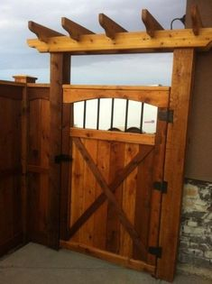 Fence gate idea - LOVE this one! Pretty Fence gate idea - LOVE this one! Backyard Gates, Backyard Pergola, Backyard Landscaping, Fence Gates, Pergola Kits, Pergola Ideas, Living Pool, Outdoor Living, Backyard Projects