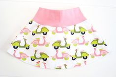 ORGANIC skirt for girls in white with scooters (vespa) and pink band. Size 74-98, baby clothes, toddler, skirt ecokatoen, 1 year