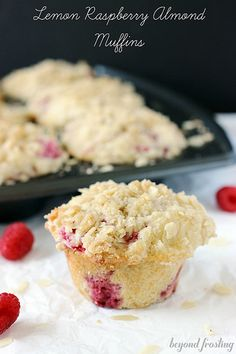 Lemon Raspberry Muffins with Almond Streusel | beyondfrosting.com | #raspberry #lemon
