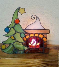 Купить Новогодний витражный подсвечник - новогодний подарок, новогодний сувенир, новогодний декор, Витраж