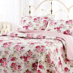 Amazon.com - Laura Ashley Lidia Cotton Quilt Set, Twin