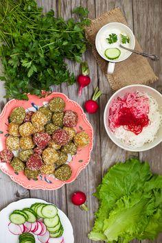 Colorful Veggie Falafel: serve wrapped in your favorite leafy greens or in pita pockets (vegan).