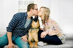 Best of the Best Engagement Photo Contest Honorable Mention - Adorable photo with dog by  Amanda Wilcher of Amanda Wilcher Photographers | junebugweddings.com