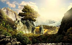 Beautiful landscape with loks of gree trees all around. It seems to be like a fantasy.