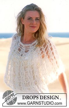 #Crocheted Poncho in Vienna by DROPS design Airy Designs in Warm Yarns