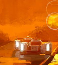 Doug Garrison Art - Audi Sunset at Le Mans...