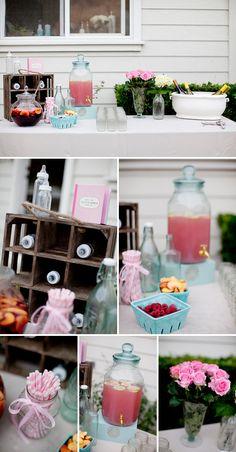 Pretty Pink and Aqua Backyard Baby Shower