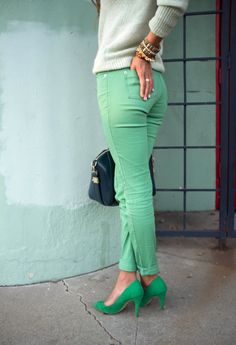 i'm on the lookout for mint green jeans!