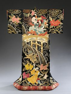 Outer kimono (uchikake), satin silk with appliqué and embroidery, 1870–90. Scenes from two well-known plays feature. The garment may have been worn by a Kabuki actor, but...