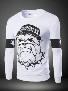 #Felpa girocollo stampa #bulldog, Animal Print Crewneck #Sweatshirt
